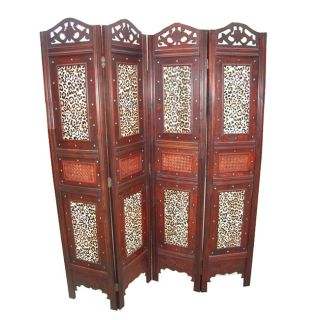 Pha ommy Decoraive 4 panel Wood Leopard Paern Room Divider