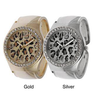 Geneva Platinum Womens Rhinestone Leopard Print Cuff Watch