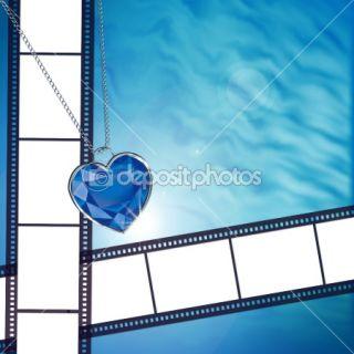 Film on background with blue diamond  Stock Photo © Yana Prosvirina
