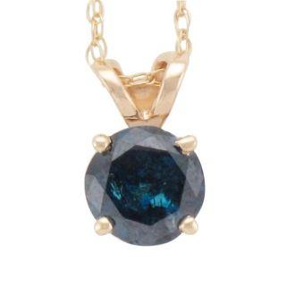 14k Yellow Gold 3/4ct TDW Blue Diamond Pendant