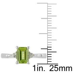 Miadora Sterling Silver Emerald cut Peridot and Diamond accented Ring