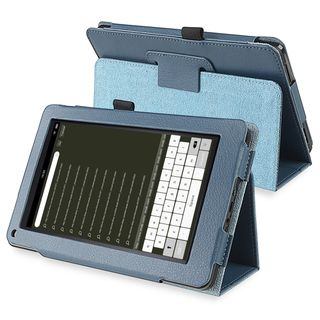 BasAcc Navy Blue Leather Case with Stand for  Kindle Fire