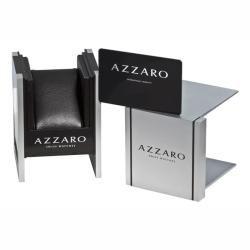 Azzaro Mens Legend Rectangular Rose Gold PVD Blue Face Watch