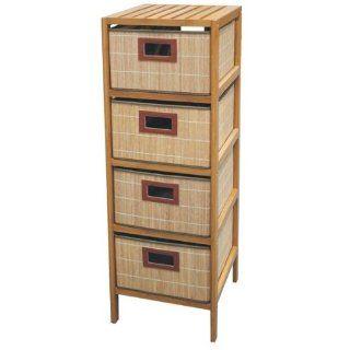 Regal mit 4 Schubladen Bambus ideal als Badschrank: Küche