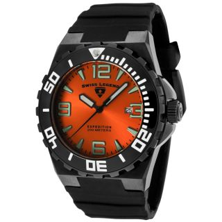 Swiss Legend Mens Expedition Orange Dial Black Silicon Watch