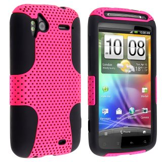 Black Skin/ Hot Pink Hard Hybrid Case for HTC Sensation 4G