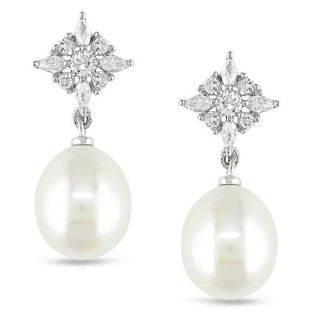 Miadora Sterling Silver Cubic Zirconia and White Pearl Earrings (9 9.5