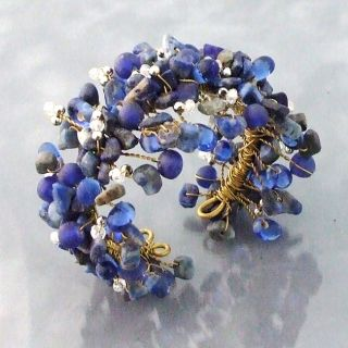 Wide Web Works Goldtone Blue Lapis Weave Cuff Bracelet