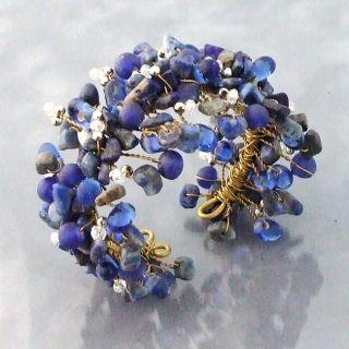 Wide Web Works Goldtone Blue Lapis Weave Cuff Bracelet