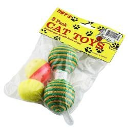 piece Yellow Plush Ball/ Dumbbell Toy/ Ball with Bell for Cats