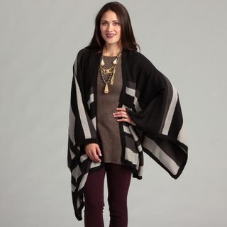 Calvin Klein Womens Colorblocked Striped Ruana Wrap