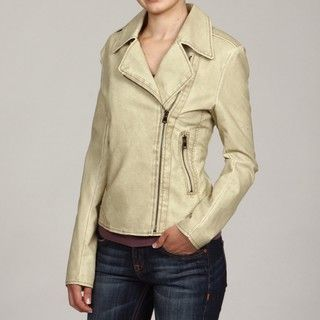 Collezione Womens Beige Faux Leather Moto Jacket