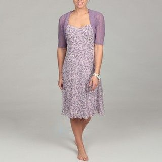 Connected Apparel Womens Chiffon Bungee Dress with Crocheted Bolero