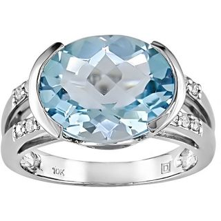 10k Gold Blue Topaz and 1/10ct TDW Diamond Ring