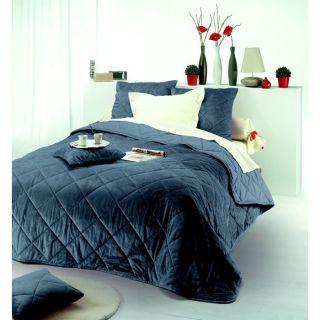 Couvre lit matelassé 220 cm x 240 cm, gris anthracite, 100% polyester
