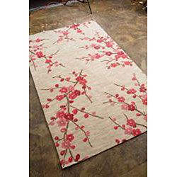 Hand tufted Sand/ Red Rug (5 x 76)