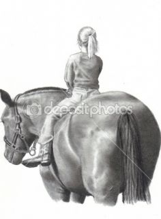 Pencil Drawing of Little Girl on Horse  Stock Photo © Joyce Geleynse