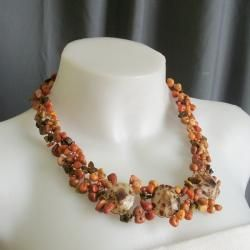 Brown Limpet Sea Shell and Multi gemstone Necklace (Philippines