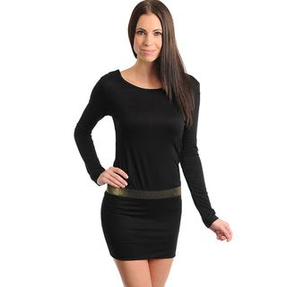 Stanzino Womens Black Long Sleeve Banded Dress