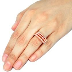 Rose Goldplated Clear Stone Tube 3 piece Stackable Ring Set