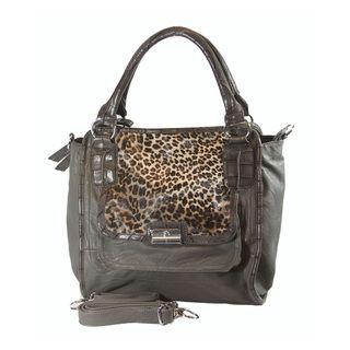 Neviss Womens Grey/ Leopard Leather Satchel