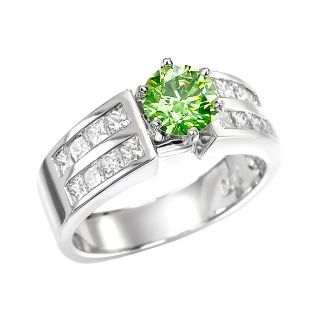 14k White Gold 1 7/8ct TDW Green and White Diamond Ring (G, VS2
