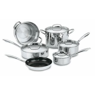 Cuisinart GreenGourmet Multi ply Stainless Steel 10 Piece Cookware Set