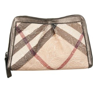 Burberry Logo Plaid Brocade Embossed Travel Case