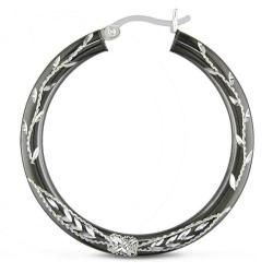 Miadora Sterling Silver Grey Rhodium Flower Design Hoop Earrings