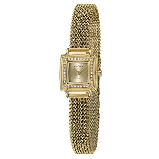 Skagen Womens Mesh Yellow Goldplated Stainless Steel Crystal Watch
