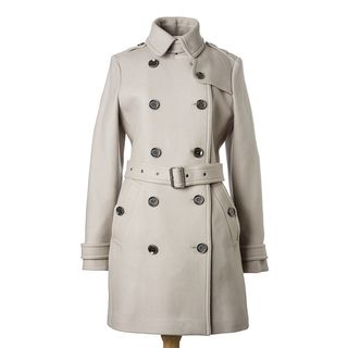 Burberry Brit Womens Dove Grey Wool Twill Mid length Trench Coat