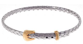 14k Two tone Gold Basket Weave Bangle