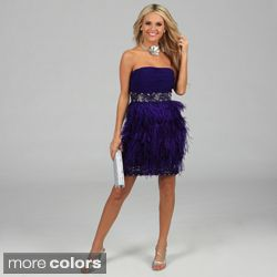 Feather Trimmed Sequin Evening Dress Today: $183.99