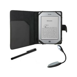Deluxe  Kindle Touch Black Leather Case/ LED Reading Light