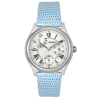 Seiko Womens Blue Leather White Dial Watch