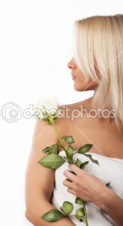 Cute girl holding a rose  Stock Photo © Vladimirs Poplavskis