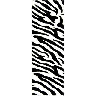 Handmade Soho Zebra Print Ivory/ Black N. Z. Wool Rug (26 x 8