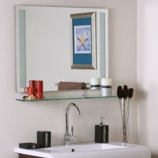 Decor Wonderland SSM151 Ricardo   Shelf Frameless Wall Mirror, Etched