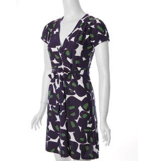 Trixie Womens Purple Retro Print Short sleeve Dress