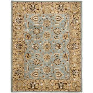 Handmade Heritage Mahal Blue/ Gold Wool Rug (11 x 17)