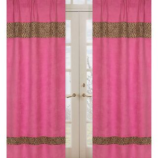 Cheetah Girl Pink and Brown 84 inch Curtain Panel Pair