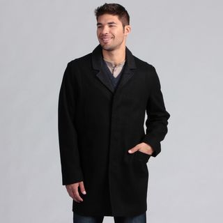 Nautica Mens Button Front Wool Blend Coat