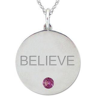 10k Gold June Birthstone Rhodolite Engraved BELIEVE Necklace