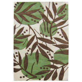 Handmade Metro Flower Green Wool Rug (5 x 8)