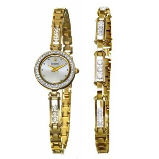 Bulova Womens Crystal Goldplated Steel Watch and Bracelet Set