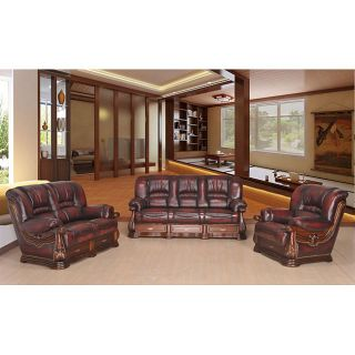 Jefferson Classic 3 piece Top Grain Leather Sofa Set