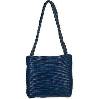 Made in Italy Desmo Leather Blue Intrecciati Tote