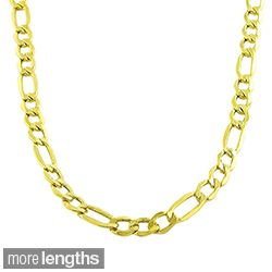 Fremada 10k Yellow Gold 7.4mm Figaro Necklace (20 24 inches)