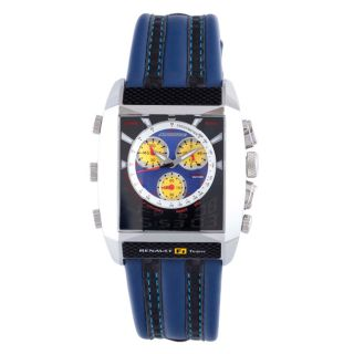 Chronotech Mens Blue Textured Dial Blue and Black Leather Watch Today