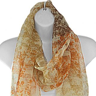Hand spun Silk Shadow Striped Floral Orange Scarf (India)